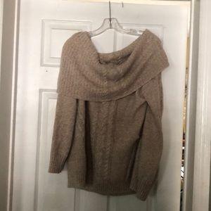 Beige /copper shimmer off shoulder slouchy sweater
